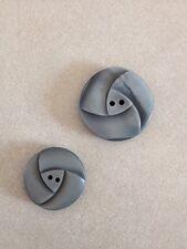 Pair Vintage Art Deco Gray Textured Geometric Plastic Two Hole Buttons 2.5cm 2cm