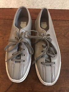 GRAY LEATHER K-SWISS SHOES•USA-MEN 10 72926059 Low Clean Laguna Sneaker Tennis