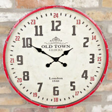 Large Round Vintage Wall Clock Red Metal Frame Industrial Analogue Quartz Time