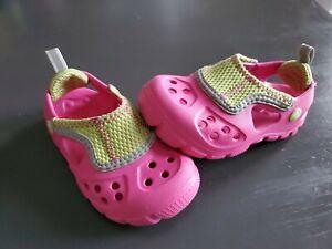 Crocs Micah II Sport Water Sandal Clog Shoes for Kids Toddler Sz 6/7 Pink Yellow