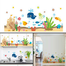 Underwater Sea Ocean Fishes Art DIY Wall Sticker Bath kids Room Decor Removable