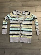Womans Gray Blue Striped Cardigan Sweater Size Large By Mossimo