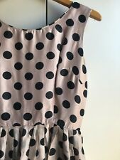 VINTAGE DRESS 30/40's Pale Pink with Black Polka Dots (Size 8)