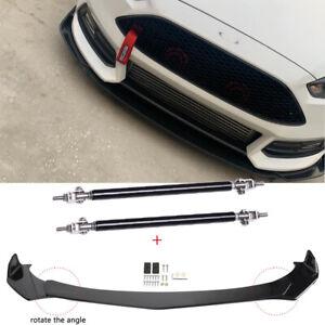 For Ford Focus ST RS MK3 MK4 Front Bumper Lip Splitter Glossy Black + Strut Rods