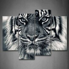 Framed Black White Ferocity Tiger Canvas Print Wall Art Painting Animal Picture