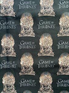 "1 yard ,36"" x 43"" 100% COTTON Game of Thrones Fabric Logo Thornes on Black"