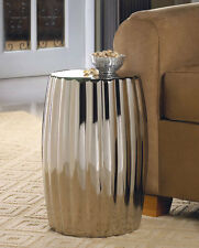 Nice Dramatic Silver Ceramic Stool Or Side Table