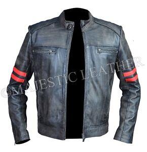 Mens Cafe Racer Distressed Black Vintage Motorcycle Biker Retro Leather Jacket
