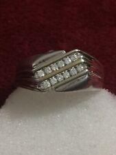 Sterling Silver Mens Diamond Ring Scrap Or Wear Size 14