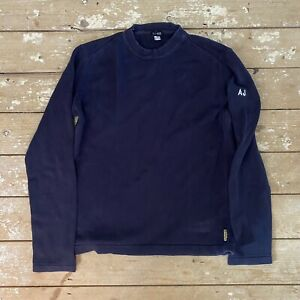 Armani Jeans Jumper Cotton Knitwear Medium Fits Small Navy Casuals