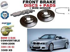 für BMW 3 E46 330 Cabrio 325mm VORDERE BREMSSCHEIBE SATZ + Bremsbelag + Sensor