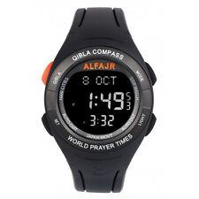 Alfajr WQ-18 Black Qibla Compass Nimaz/Prayer/Azan Watch with Rubber Strap