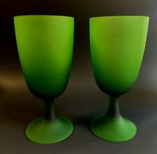 2 Green Frosted Glass Goblets/Glasses