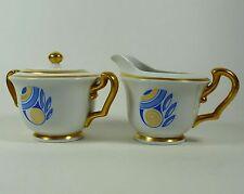 Porcelain Creamer Sugar Bowl with Lid Blue Gold Vintage Collectible