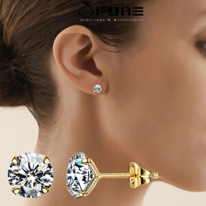18K Gold Plated on Genuine 925 Solid Sterling Silver Stud Earrings For Women