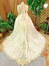 UNIQUE WHITE SATIN  WEDDING DRESS BRIDAL GOWN RENAISSANCE FAIRE SIZE SMALL