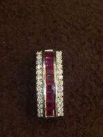 Pave 1,15 Cts Runde Brilliant Cut Diamanten Rubin Anhänger In Hallmark 18K Gold