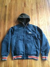Stussy RARE unisex Button Up Hooded Nylon Blue Jacket Quilted Inside Size Small