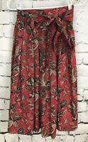 Ruff Hewn Red Paisley Pleated Cotton Midi Skirt Pockets And Belt Size 4