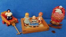 KONVOLUT ALTE PUPPEN BABY DOLL + ZUBEHÖR VINTAGE PUPPENHAUS PUPPENSTUBE