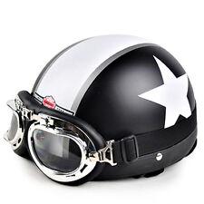 Casque Vintage bol cromwell noir mat étoile Moto scooter Lunettes style CLIMAX