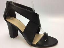 Via Spiga Women's Black Open Toe Sandal Heels LEATHER SZ 8.5 M NEW DISPLAY D3186