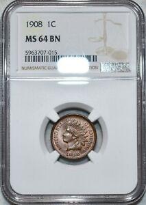 NGC MS-64 BN 1908 Indian Head Cent, Attractive, Lustrous specimen.