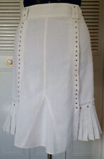Women's TRIBAL White Skirt 10 A Line Metal Studs Pleating Casual Linen Lined