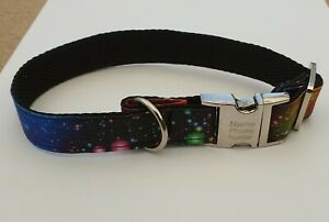 Personalised handmade dog collar, nylon webbing, space fabric