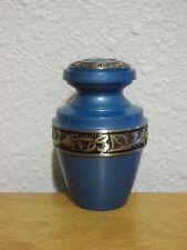 Turquoise Banded Brass Keepsake Token Mini Urn w/Velvet Bag~Imperfect