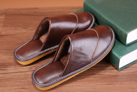 Winter Mens Slippers Home Shoes Leather Casual Flat Striped Slides Shoes Pull On