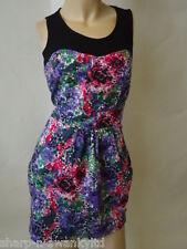 Ladies Black/Pink/Purple/Green Flower Print Fitted Mini Dress UK 10 EU 38