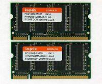 1GB (2x512MB) DDR-266 PC2100 Laptop (SODIMM) Memory RAM KIT 200-pin ***Tested***
