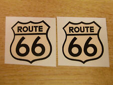 ROUTE 66 - car stickers  - America Mother Road USA -  2x 50mm decals (cream)