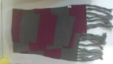 Express Long MOLLY RUGBY SCARF Fuchsia & Gray Acrylic W fringe