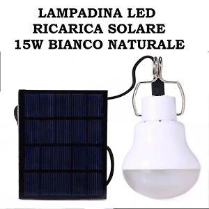 LAMPADINA LED RICARICA SOLARE 15W RICARICABILE BATTERIA AL LITIO