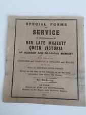 Death Of Queen Victoria. Form Of Church Service. 1901