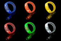 8 Light Up LED Bracelets Flashing Glow Wrist Band Blinking Bangle Party Fun UK