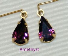 Ametyst Purple Rhinestone Earrings Fashion Doll Cissy Vintage Miss Revlon Toni