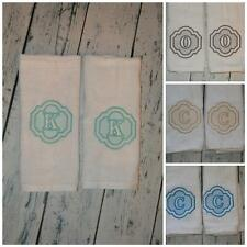 PERSONALIZED Hand Towel SET OF 2 Custom Embroidered Initial You choose Color