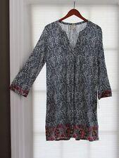 LUCKY BRAND Navy Blue White Multi Print Slub Jersey Tunic/ Dress Size M NWT $58