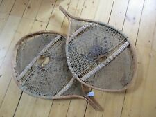 "RARE ""ROUND"" VINTAGE WOODEN SNOW SHOES, LARGE FUR TRADE, TRAPPERS   DAY O-227"