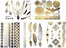 50+ Egyptian Temporary Metallic Tattoos Gold Silver Black Large Fake Jewelry