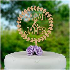 PERSONALISED Rustic Wood Wreath Wedding Cake Topper Engagement Cake Decoration