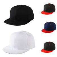 Snapback Baseball Cap Black Plain Hat Hip Hop Era Fitted Flat Peak One size