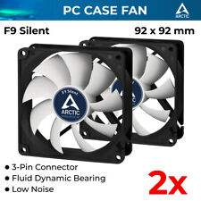 2x Case Silent Fan 92mm 3-pin 12v Fluid Bearing Extra Quiet White Arctic Cooling