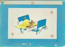 """Get Well Wishes Cute Dog in Blue Bed 12x8.5"""" Greeting Card Art #C1684"""