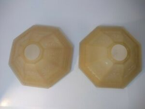 """Vintage Set Of 2 Frosted Beige Glass Lamp Shades 1 3/4"""" Fitters 8 1/2"""" bottom"""