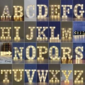 LED Light Up Alphabet Letters/Numbers White Plastic Symbols Standing Hanging
