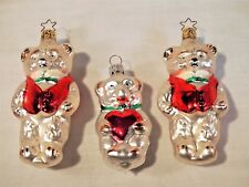 Three Old World Christmas Two Teddy Bears and Child hand blown glass ornament